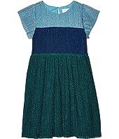 Color Blocked Pleated Metallic Knit Dress (Big Kids)