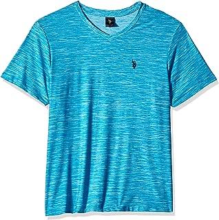 U.S. Polo Assn. Mens 11-4496-47 Short Sleeve Poly V-Neck Solid T-Shirt Short Sleeve T-Shirt - Beige