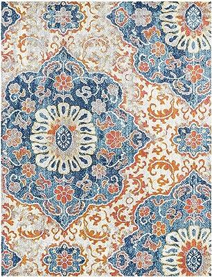 "Artistic Weavers Angeles Blue and Burnt Orange Transitional 7'10"" x 10'3"" Area Rug"