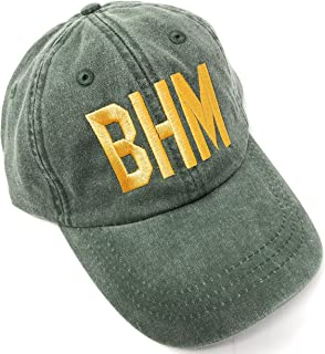 Mary's Monograms Embroidered BHM Birmingham-Shuttlesworth International Airport Code Baseball Hat (Pigment Dyed Spruce Green with Gold Letters)