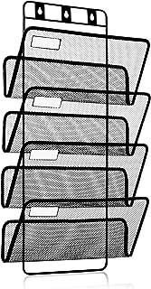 4-Pocket Hanging Wall File Organizer, Folder Holder + Mounting Hardware + Labels