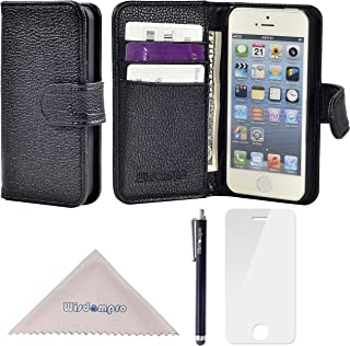 Wisdompro iPhone SE 5s 5 Case, Premium PU Leather 2-in-1 Protective Folio Flip Wallet Case with Multiple Credit Card Holder Slots for Apple iPhone SE/5s/5 (Black W/O Lanyard)