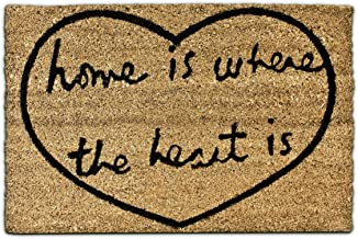 Relaxdays Coconut Fibre Home is Where The Heart is Coir Doormat 40 x 60 cm with Anti-Slip PVC Rubber Underside Welcome Mat...