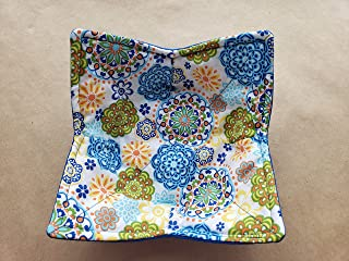 Blue Green Modern Floral Microwave Soup Bowl Holder Mandala Reversible Microwaveable Cozy