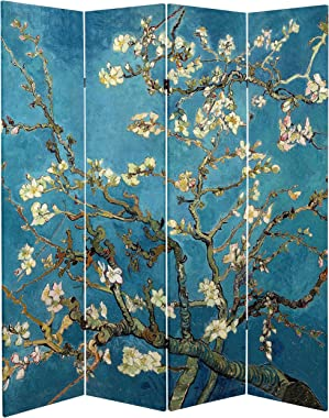 Oriental Furniture 6 ft. Tall Double Sided Works of Van Gogh Canvas Room Divider - Almond Blossoms/Wheat Field