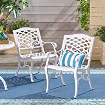 Christopher Knight Home 305314 Brody Outdoor Cast Aluminum Arm Chair (Set of 2), White
