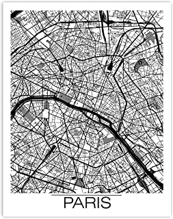 Printsmo, Paris Street Map, France Travel Minimalist Modern Art Print Poster, Contemporary Wall Art for Home Decor 11x14 i...