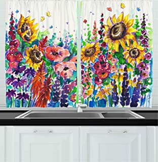 Ambesonne Kitchen Decor Collection, Floral Watercolor Style Wildflowers Country Kitchenware Flowers Art Print , Window Treatments for Kitchen Curtains 2 Panels, 55X39 Inches, Yellow Purple Red Green