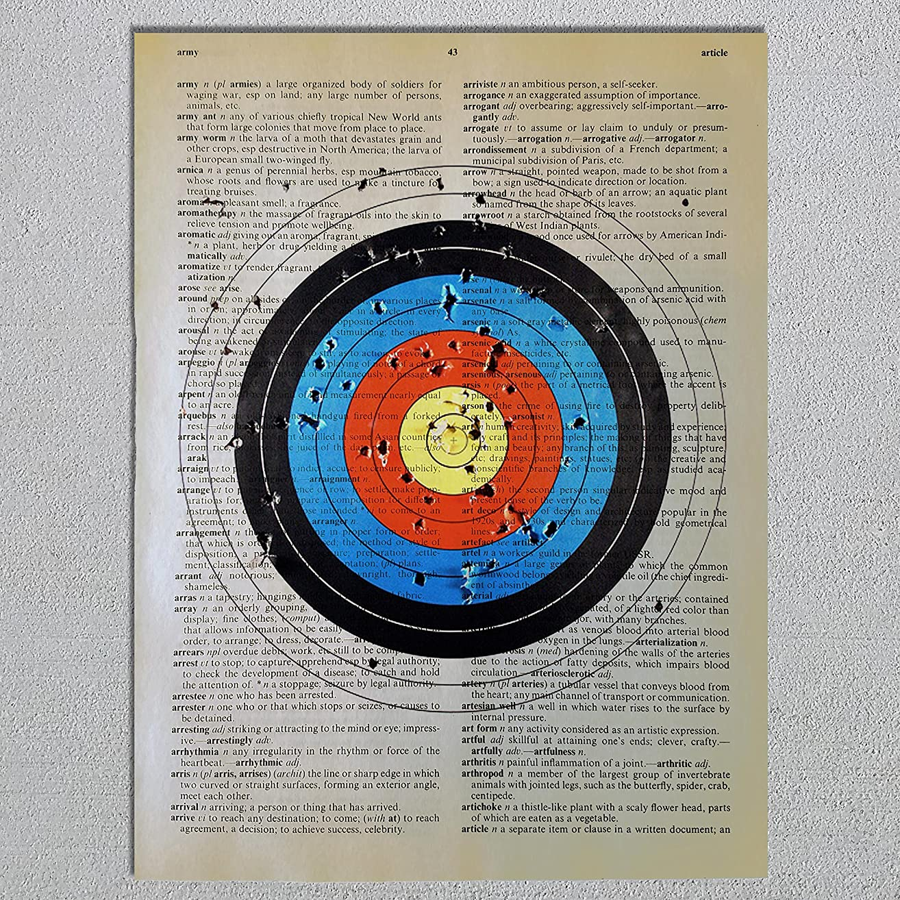 Archery Target Dictionary Page Art Print