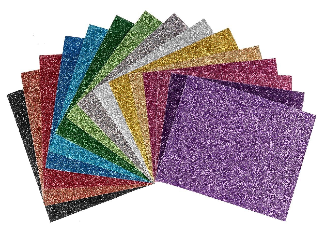 Glitter Heat Transfer Vinyl (HTV) Sheets - 15 Color Bundle Pack, multi-colors, Vinyl Heat Transfer, HTV Bundle for T-shirts & Iron On, Silhouette Cameo, Heat Press & Cricut Machines