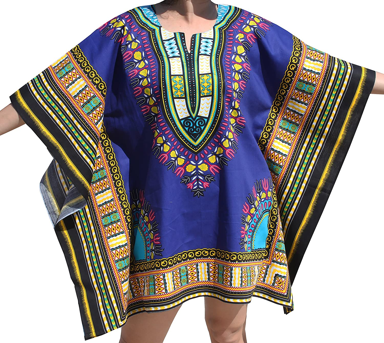RaanPahMuang Brand Festival Shirt Batwing Flap Sides Bright Africa Dashiki Print, XLarge, bluee