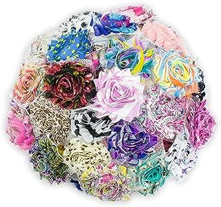 JLIKA (50 pieces) Shabby Flowers - Chiffon Fabric Roses - 2.5