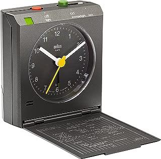 Braun BNC005 Classic Relflex Control Travel Alarm Clock, Black