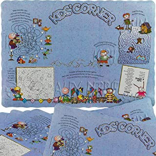 BPA Free Interactive Paper Placemats for Kids 50 Pack. Disposable Interactive Activity Mats with Coloring Space for Quiet Dinner Table Entertainment. Non-Toxic, Eco-Friendly Restaurant Grade Supply