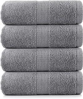 4 Piece Bath Towel Set - 100% Cotton, Ultra Soft, Quick Dry, Highly Absorbent Premium Spa Quality Bath Towel Set - Grey (2...