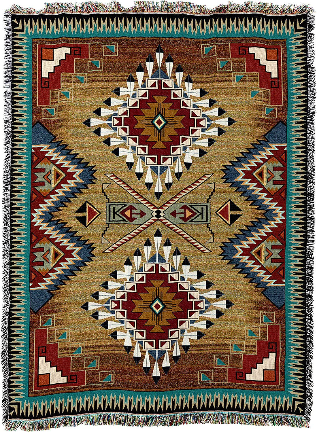 Pure Country Weavers   Brazos Southwest Blanket   Woven Tapestry Camp Throw with Fringe Cotton USA 72x54