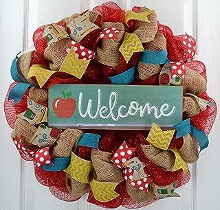 Back to School Teacher Gift | Classroom Decor | Present Outdoor Mesh Wreath | Red Burlap Yellow