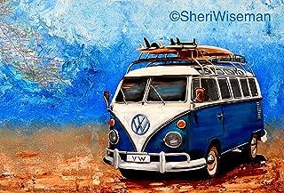 1960's Blue Volkswagen Bus, artist signed print, 11