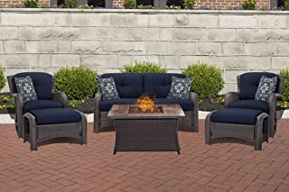 Hanover STRATH6PCFP-NVY-WG 6 Piece Strathmere Lounge Set in Navy Blue with Fire Pit Table Outdoor Furniture, Wood Grain Top