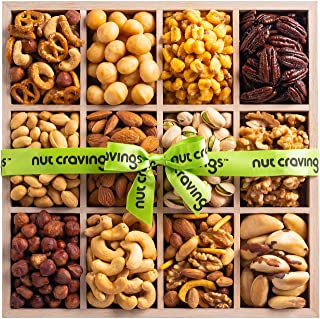 Gourmet Fresh Nut Assortment Gift Basket Wood Tray (12 Mix) - Edible Care Package Set, Birthday Party Food Arrangement Platter - Healthy Snack Box for Families, Women, Men, Adults - Prime Delivery