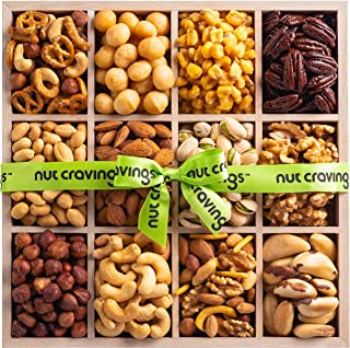 Holiday Mixed Nuts Wood Gift Box – Gourmet 12 Section of Nuts, Pretzel Pub Mix & Other Salty, Savory Snacks for Mother's Day, Christmas, Holiday or Corporate – Large Prime Variety in Sectional Tray