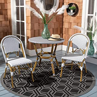 Safavieh Home Collection Salcha Grey and White Indoor/Outdoor Stacking Side Chair (Set of 2)