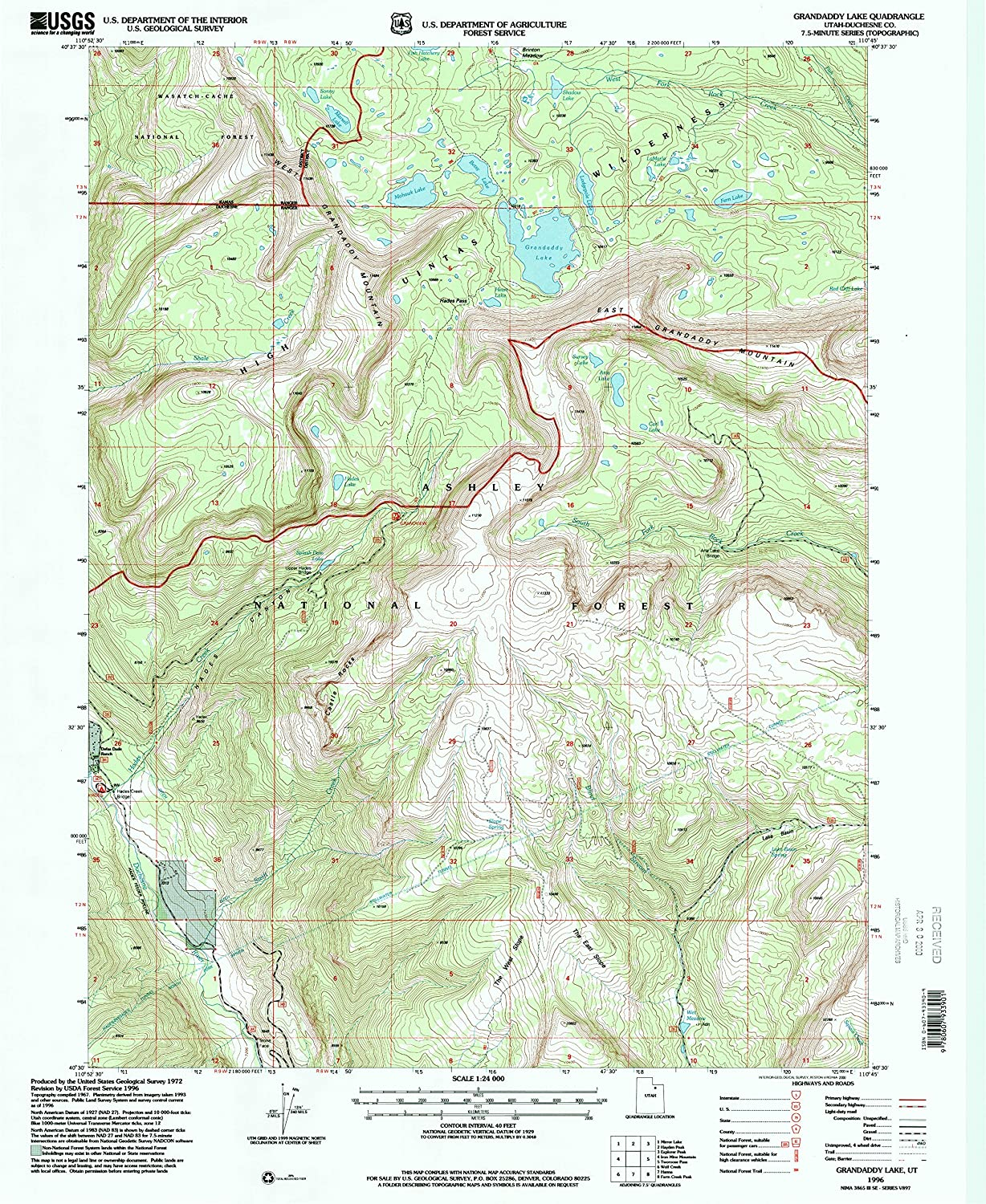 Grandaddy Lake UT topo map, 1 24000 Scale, 7.5 X 7.5 Minute, Historical, 1996, Updated 2000, 26.7 x 21.9 in