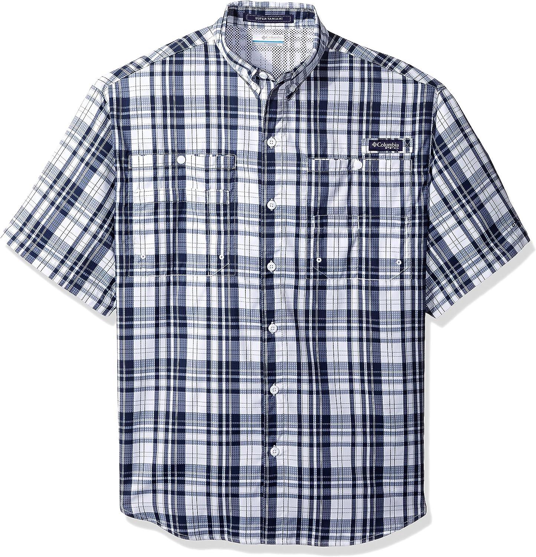 Columbia Men's Super Tamiami Short Sleeve Shirt, Collegiate Navy Multi Check, X-Small