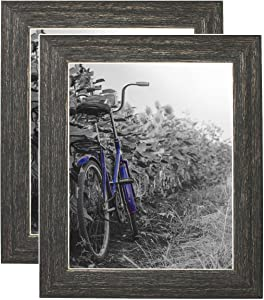 Americanflat 2 Pack 8x10 Rustic Style Picture Frames | Made for Wall and Tabletop Display. Lead Free Glass. Hanging Hardware Included!
