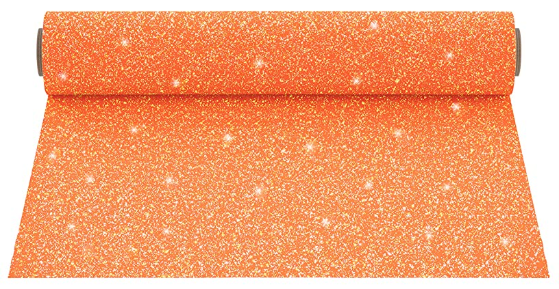 Firefly Craft Glitter Heat Transfer Vinyl for Silhouette and Cricut, 12 Inch by 20 Inch, Neon Light Orange