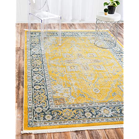 Amazon Com Unique Loom Penrose Collection Distressed Traditional Vintage Yellow Area Rug 5 3 X 7 7 Furniture Decor