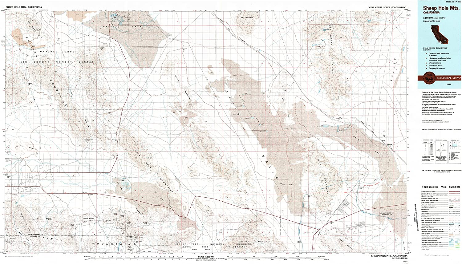 Sheep Hole Mountains CA topo map, 1 100000 Scale, 30 X 60 Minute, Historical, 1985, Updated 1985, 24.1 x 42.6 in