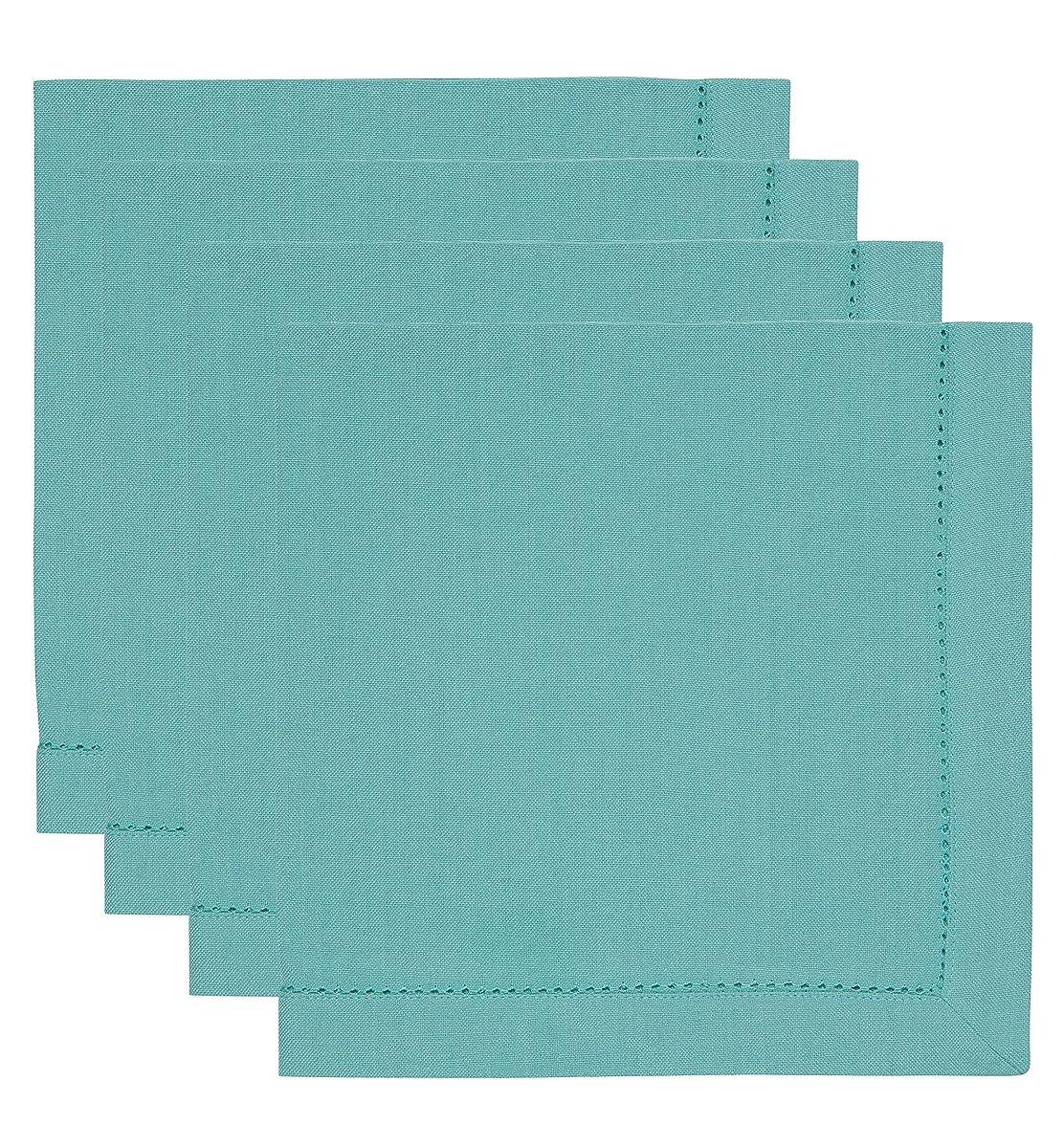 Now Designs Hemstitch Cotton Napkins, Set of Four, Turquoise Blue