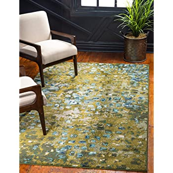 Unique Loom Jardin Collection Vibrant Abstract Green Area Rug (5' 0 x 8' 0)