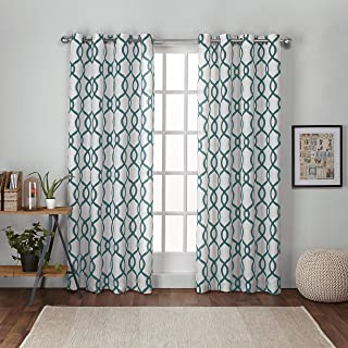 Exclusive Home Curtains Kochi Linen Blend Grommet Top Curtain Panel Pair, 54x84, Teal, 2 Piece