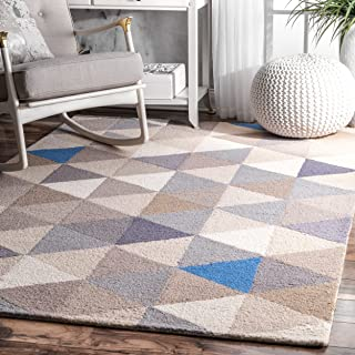 nuLOOM Triangles Wool Rug, 5' x 8', Grey