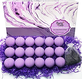 Lavender Bath Bombs Gift Set for Men and Women. 18 Lavender Bath Bombs Bulk with Essential Oils. Relaxing Bath Bombs Indiv...