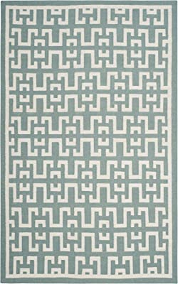 Tapis rectangulaire d'intérieur contemporain tissé plat, collection Dhurrie, DHU621, en marin / ivoire, 122 X 183 cm pour le salon, la chambre ou tout autre espace intérieur par SAFAVIEH.
