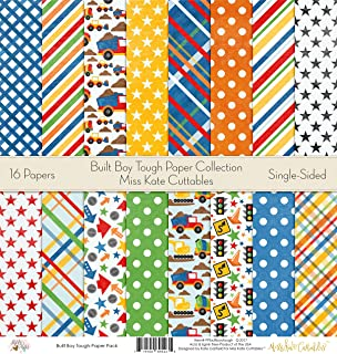 Pattern Paper Pack - Built Boy Tough - Scrapbook Premium Specialty Paper Single-Sided 12