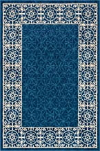 Well Woven Casa Tuscany Dark Blue & Ivory Modern Classic Mediterranean Tile Border Floral 5' x 7' Area Rug Soft Shed Free Easy to Clean Stain Resistant