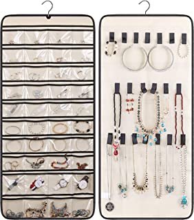 MISSLO Dual-Sided Hanging Jewelry Organizer with 40 Pockets and 20 Hook & Loops Closet Necklace Holder for Earring Bracele...