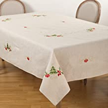 """SARO LIFESTYLE Embroidered Christmas Tree Design Linen Blend Tablecloth, 67"""" x 104"""", Natural"""