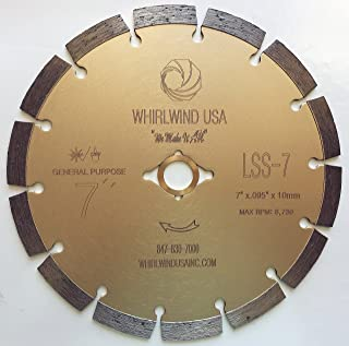 Whirlwind USA LSS 7-Inch Dry or Wet Cutting General Purpose Power Saw Segmented Diamond Blades for Concrete Stone Brick Masonry (Factory Direct Sale) (7