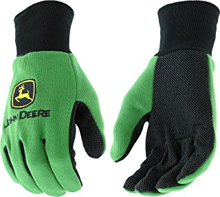 West Chester John Deere JD00002 Knit Polyester/Cotton All Purpose Work Gloves with Dotted Palms: Green, Youth, 1 Pair