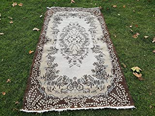 Vintage Turkish Sparta Rug in Pastel Colours, Floral Design, Decorative Old Handmade Wool Carpet for Office and Home Decor 3'10'' X 7'3'' (118 x 220 Cm)