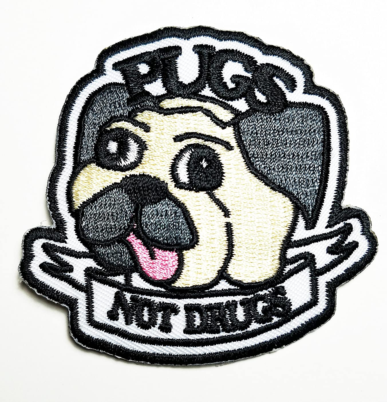 HHO Pugs Not Drugs patch Pugs Not Drugs cartoon Patch Embroidered DIY Patches, Cute Applique Sew Iron on Kids Craft Patch for Bags Jackets Jeans Clothes