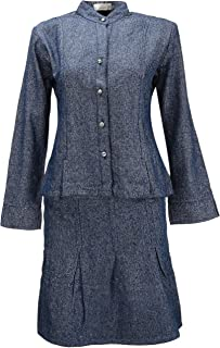 Tankoo Women's Button Front High Waisted A Line Long Denim Skirt with Top