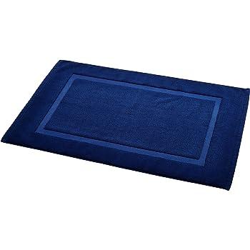 AmazonBasics Badvorleger mit rechteckiger Bordüre, Marineblau, 100% Baumwolle (1.200 g/m²), 50,8 x 78,7 cm