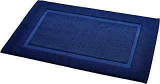 Amazon Basics Badvorleger mit rechteckiger Bordüre, Marineblau, 100% Baumwolle (1.200 g/m²), 50,8 x 78,7 cm