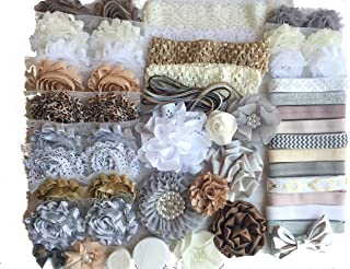 Bowtique Emilee Baby Shower Headband Kit Makes Over 30 Headbands, Baby Shower Headband Station, DIY Baby Headband Kit -
